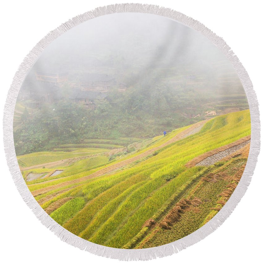 Terrace Round Beach Towel featuring the photograph Terrace Fields Scenery In Autumn by Carl Ning
