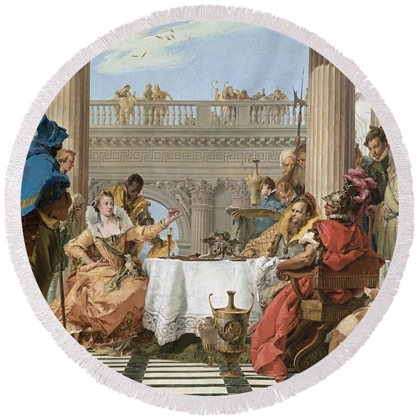 18th Century Art Round Beach Towel featuring the painting The Banquet Of Cleopatra by Giovanni Battista Tiepolo