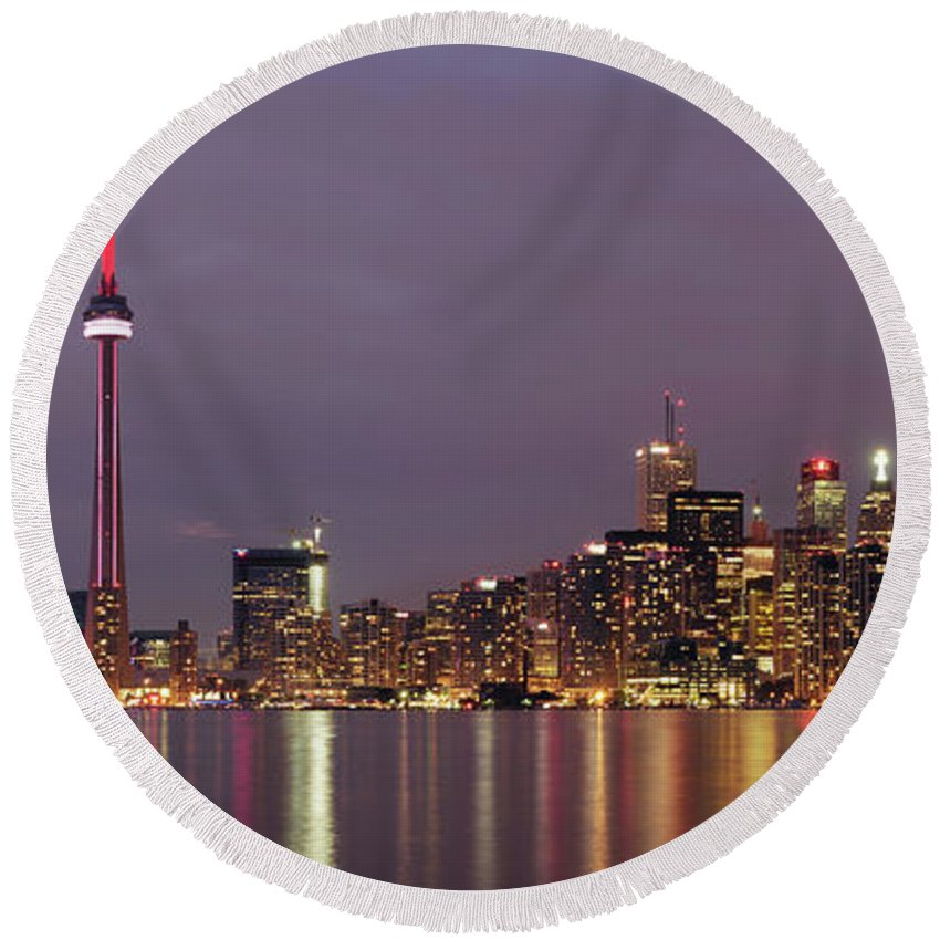 Toronto Round Beach Towel featuring the photograph The City Of Toronto by Maxim Images Prints