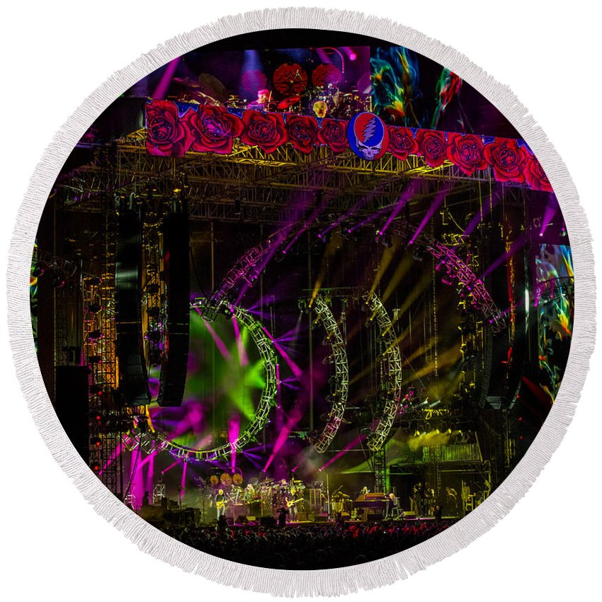 Grateful Dead Round Beach Towel featuring the photograph The Grateful Dead At Soldier Field Fare Thee Well Tour by David Oppenheimer