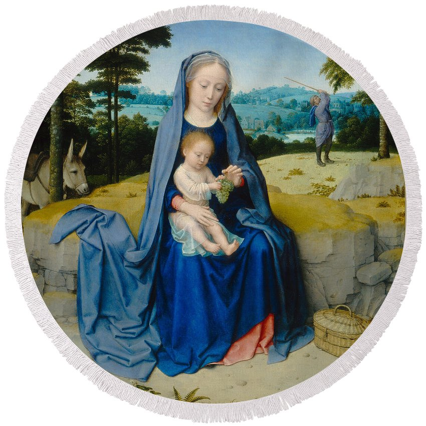 Blessed Virgin Mary Round Beach Towel featuring the painting The Rest On The Flight Into Egypt by Gerard David