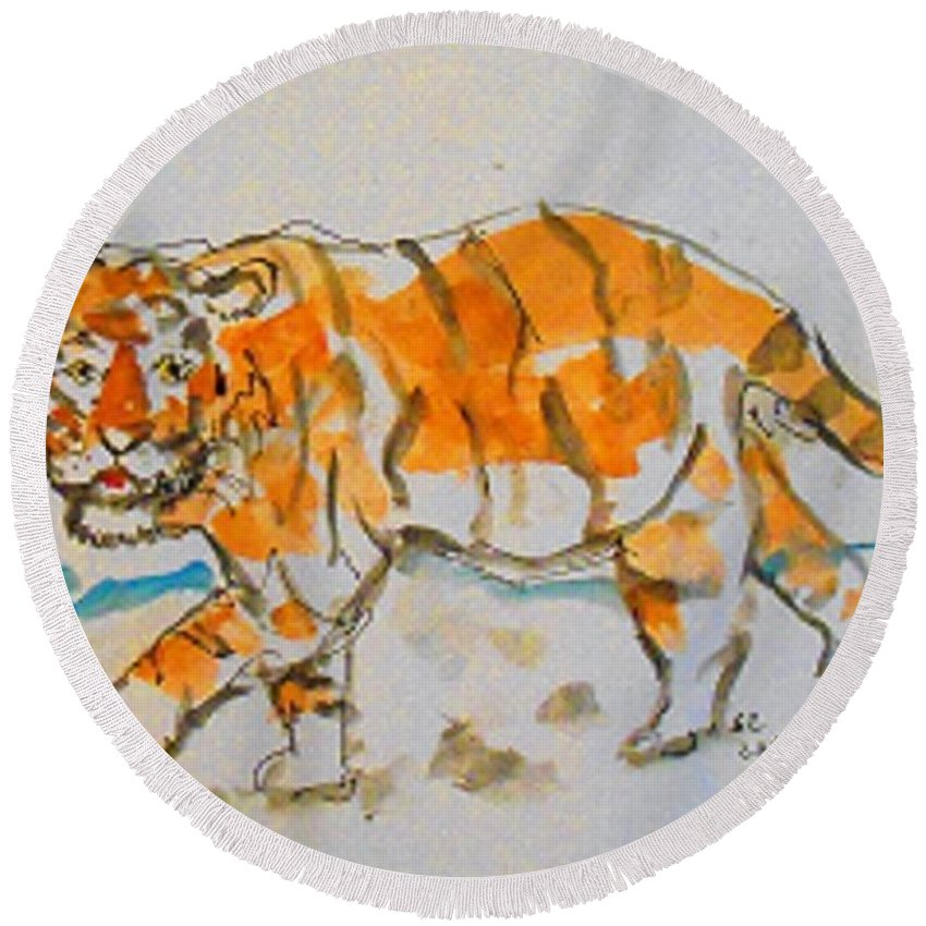 Tigers Round Beach Towel featuring the mixed media Tiger by Samuel Zylstra