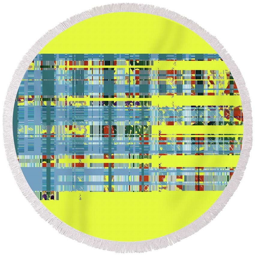 Abstract Round Beach Towel featuring the digital art 4 U 272 by John Saunders