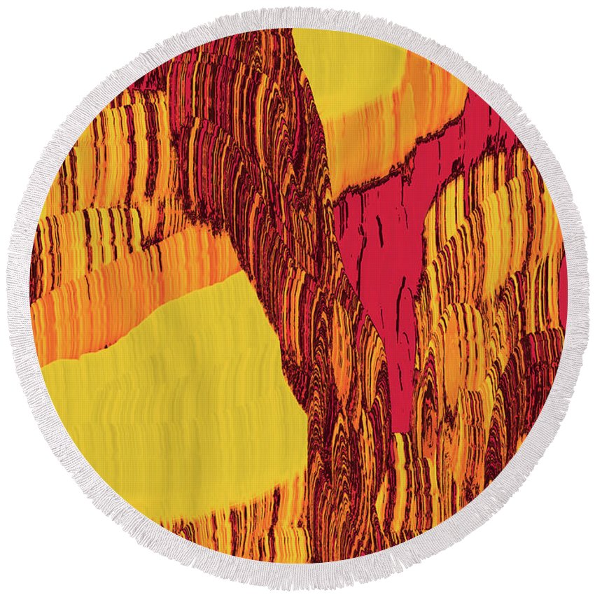 Abstract Round Beach Towel featuring the digital art 4 U 282 by John Saunders