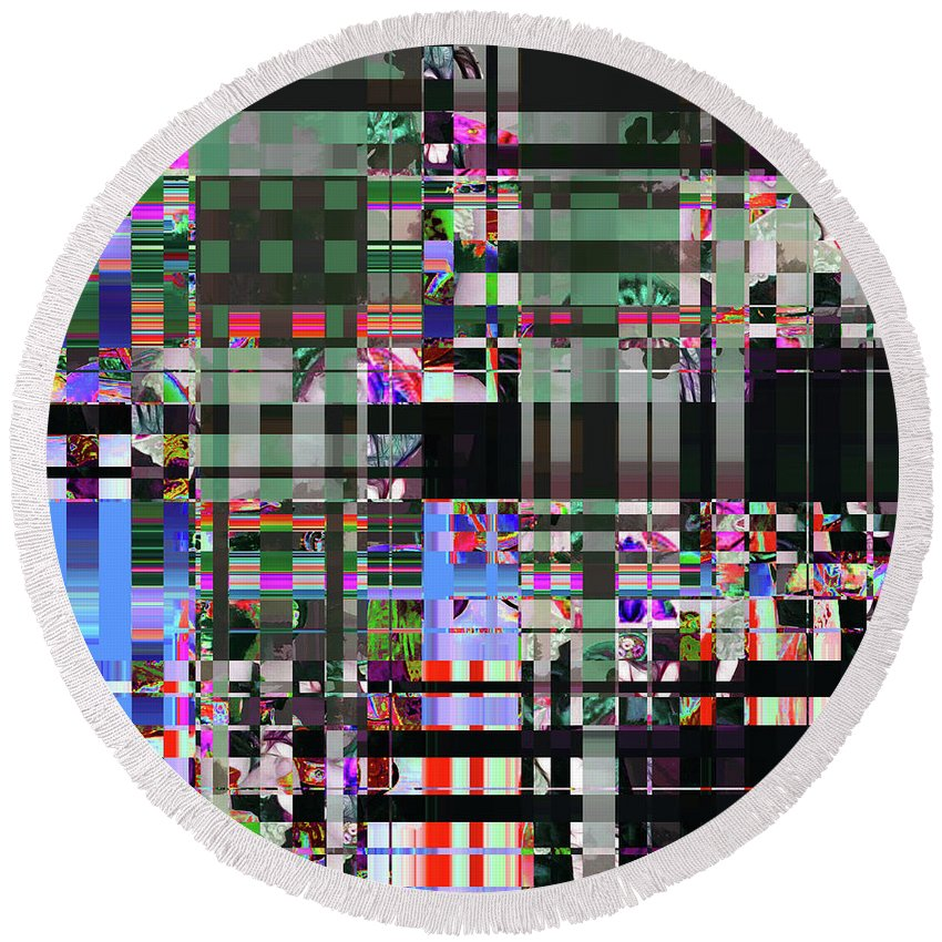 Abstract Round Beach Towel featuring the digital art 4 U 343 by John Saunders