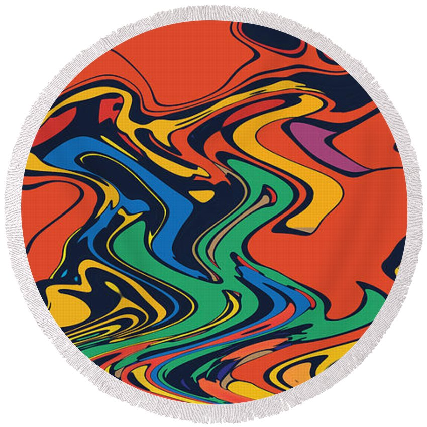 Round Beach Towel featuring the digital art Unorganized Stuff by Steven Kelly Smith