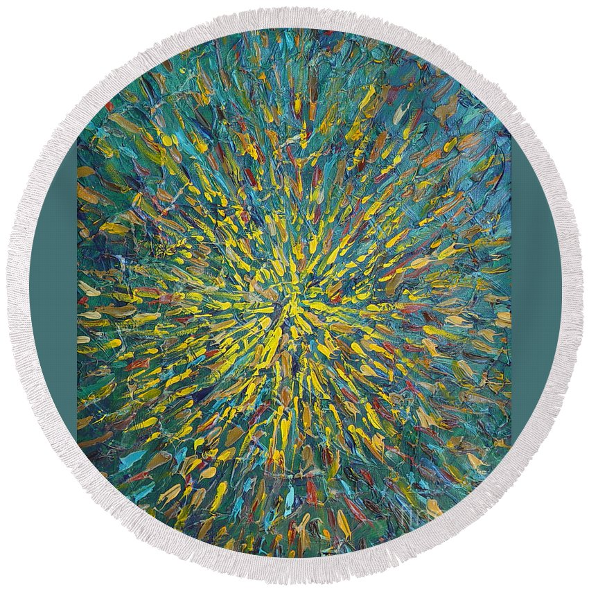 Abstract Round Beach Towel featuring the painting Untitled by Dean Triolo