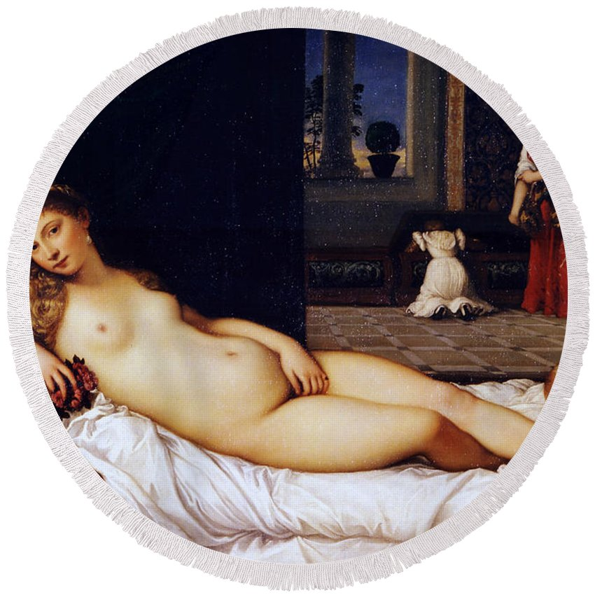 Animal Round Beach Towel featuring the painting Venus Of Urbino by Titian