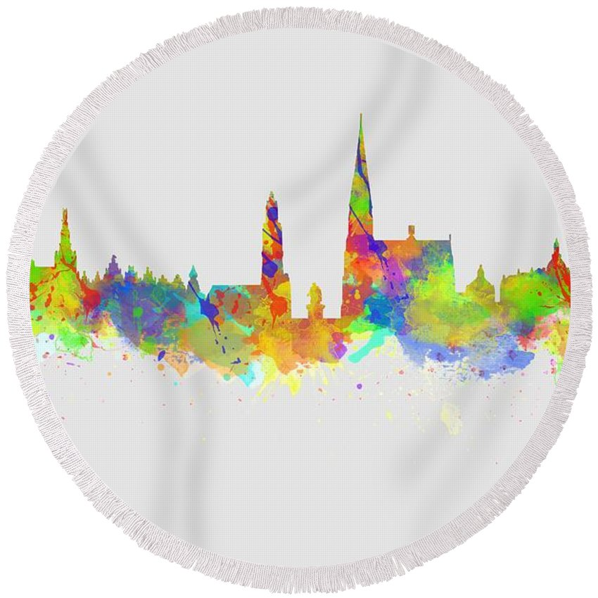 Antwerp Round Beach Towel featuring the photograph Watercolor Art Print Of The Skyline Of Antwerp In Belgium by Chris Smith