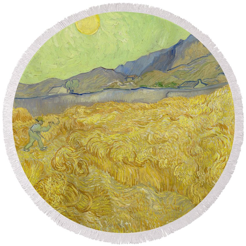 Country Round Beach Towel featuring the painting Wheatfield With A Reaper by Vincent van Gogh