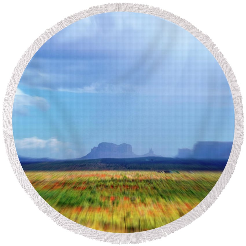 Monument Valley Round Beach Towel featuring the mixed media 4 Wheeling With The Storm Cell Approaching Monument Valley 06 4 by Thomas Woolworth
