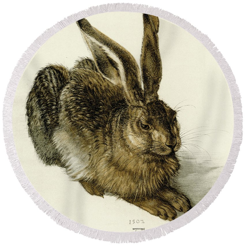 Durer Round Beach Towel featuring the painting Young Hare by Albrecht Durer
