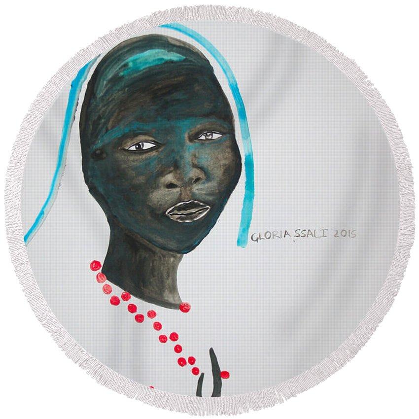 Jesus Round Beach Towel featuring the painting Dinka Bride - South Sudan by Gloria Ssali