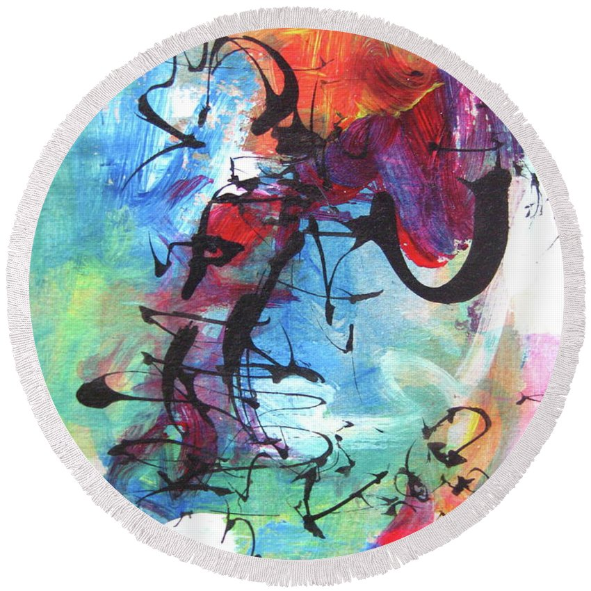 Abstract Landscape Painting Round Beach Towel featuring the painting Abstract Expressionsim Art by Seon-jeong Kim