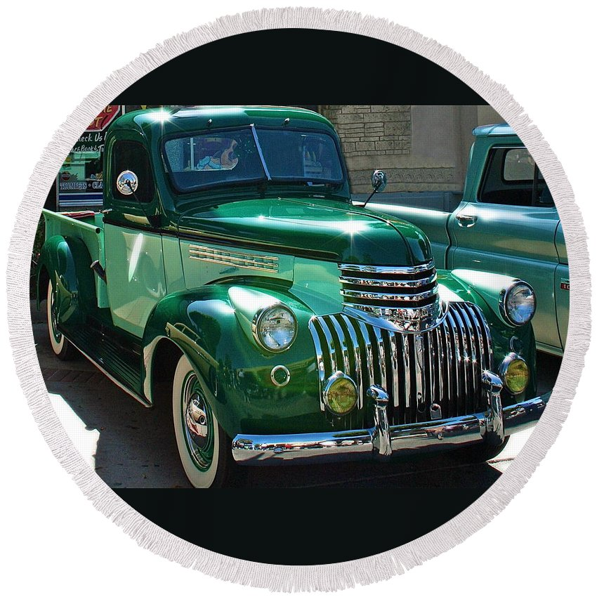 Photograph Of Classic Truck Round Beach Towel featuring the photograph 41 Chevy Truck by Gwyn Newcombe