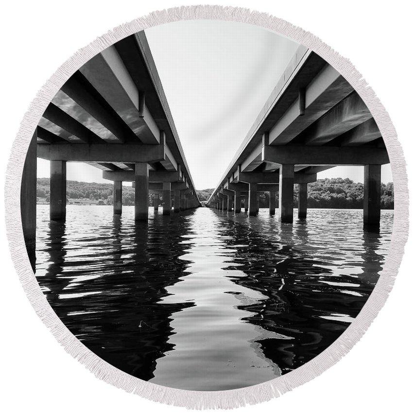Bridge Round Beach Towel featuring the photograph 422 Bridge by Michael Hills
