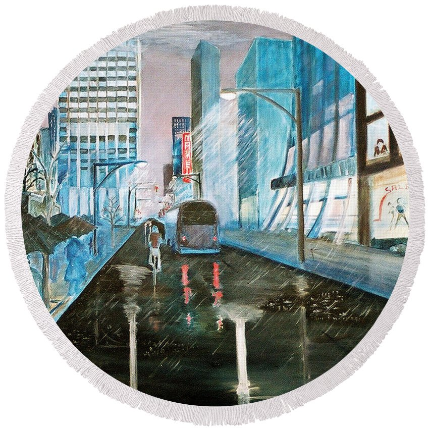 Street Scape Round Beach Towel featuring the painting 42nd Street Blue by Steve Karol