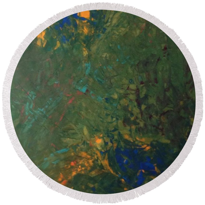 Abstract Art Round Beach Towel featuring the painting 43dfp Nebula by John Dossman