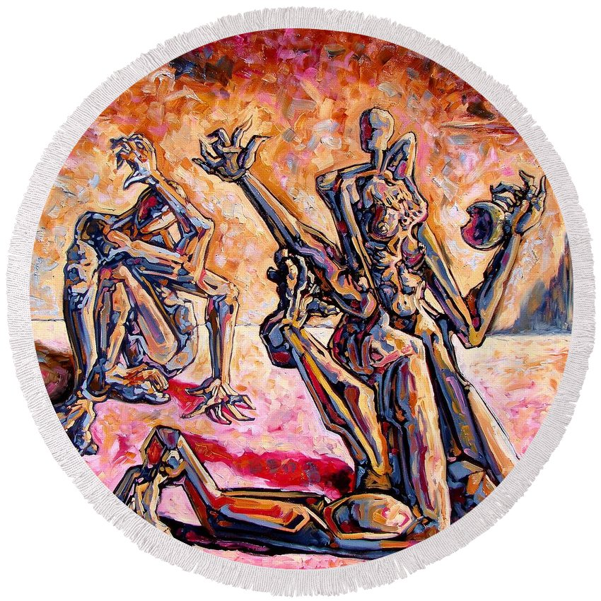 Surrealism Round Beach Towel featuring the painting 4.5 Billion Bc by Darwin Leon