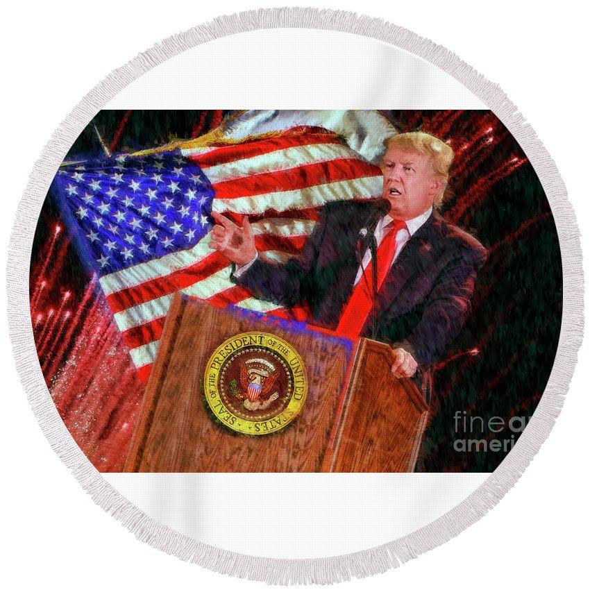 President Donald J Trump Round Beach Towel featuring the photograph 45th President Donald J Trump by Blake Richards