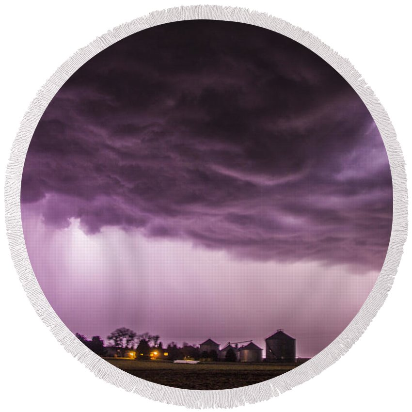 Nebraskasc Round Beach Towel featuring the photograph First Nebraska Storm Chase 2015 by Dale Kaminski