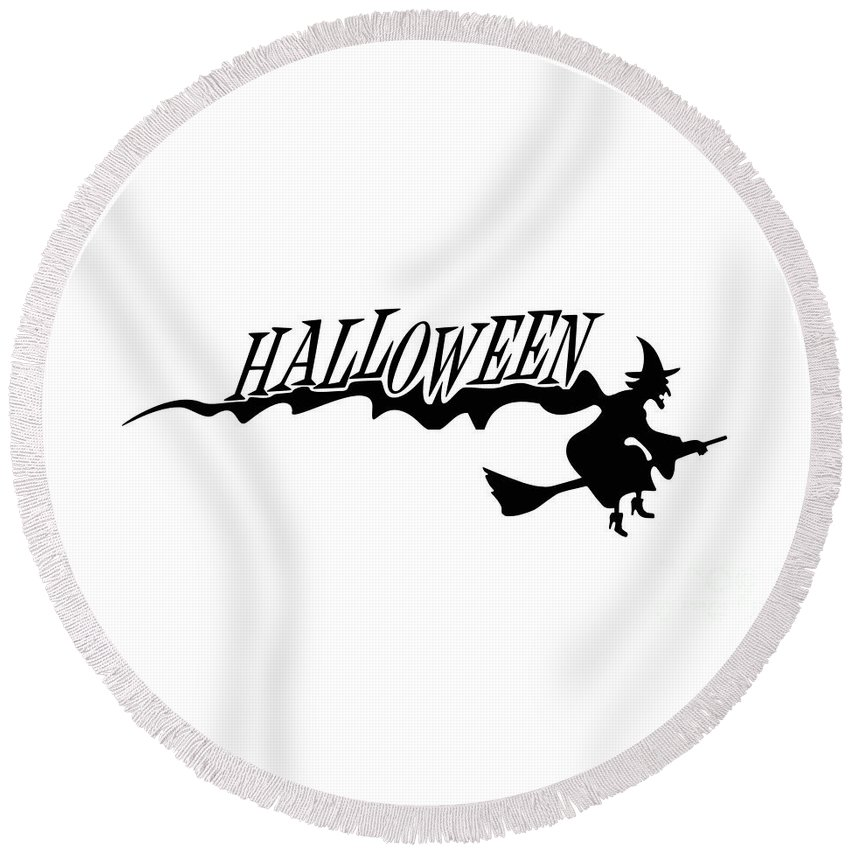 Witchcraft Round Beach Towel featuring the digital art Halloween by Frederick Holiday