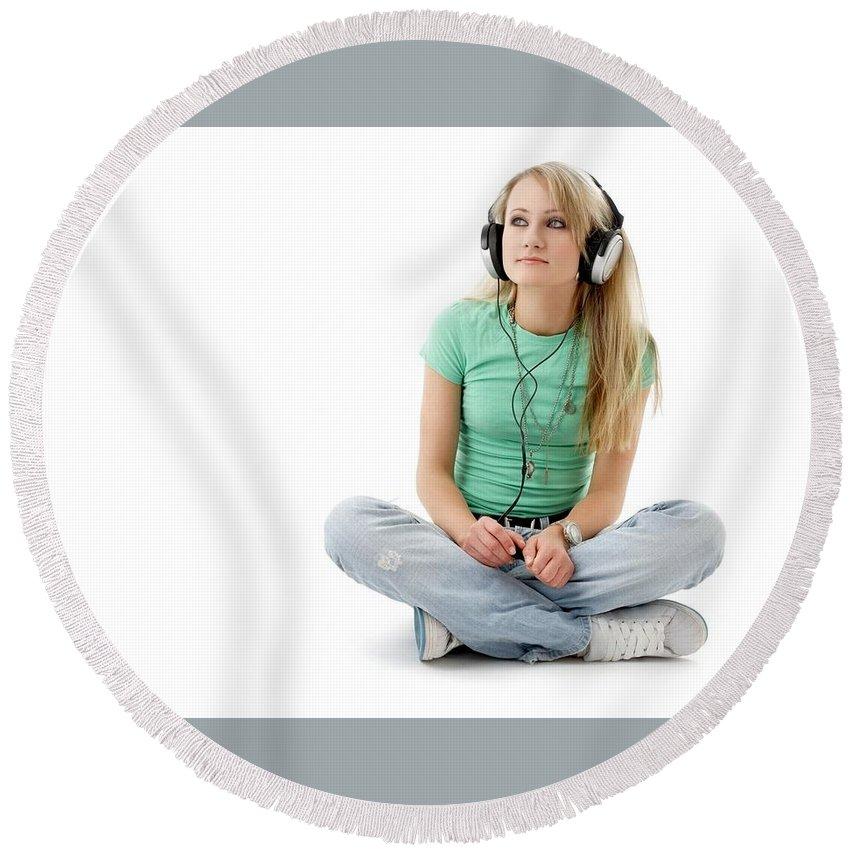Headphones Round Beach Towel featuring the digital art Headphones by Mery Moon