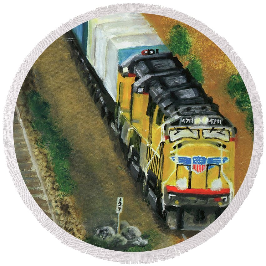 Train Round Beach Towel featuring the painting 4711 by Terry Lewey