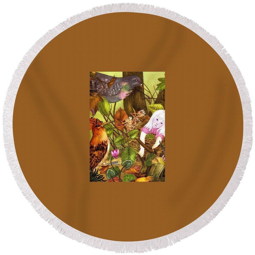 Tree Round Beach Towel featuring the digital art 48586 Adrienne Segur by Eloisa Mannion