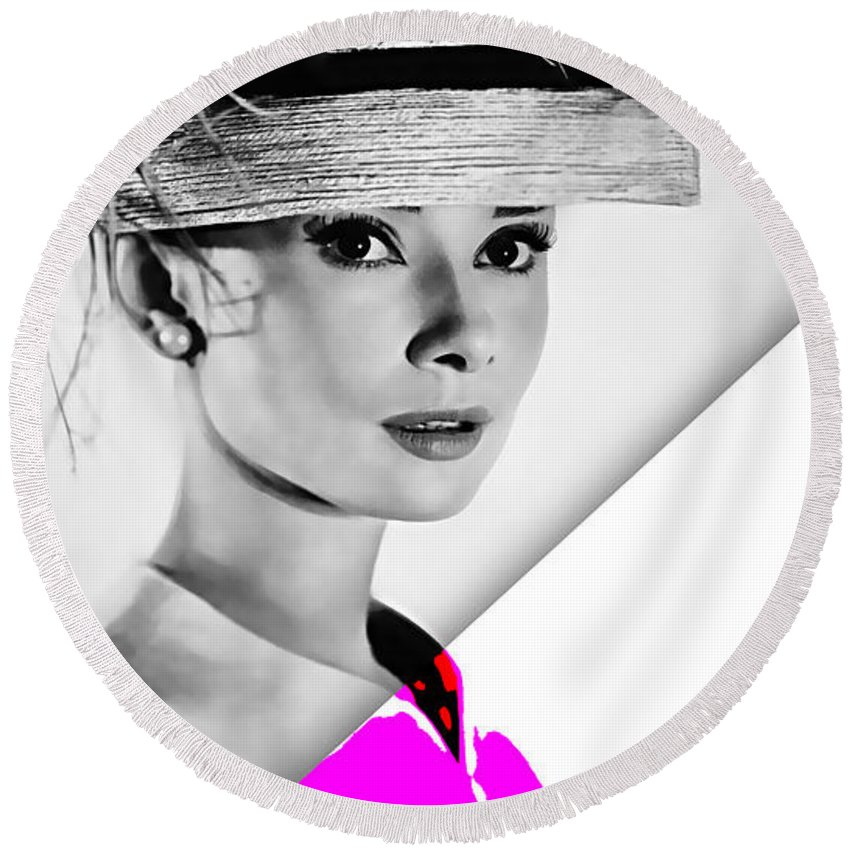 Audrey Hepburn Round Beach Towel featuring the mixed media Audrey Hepburn Collection by Marvin Blaine