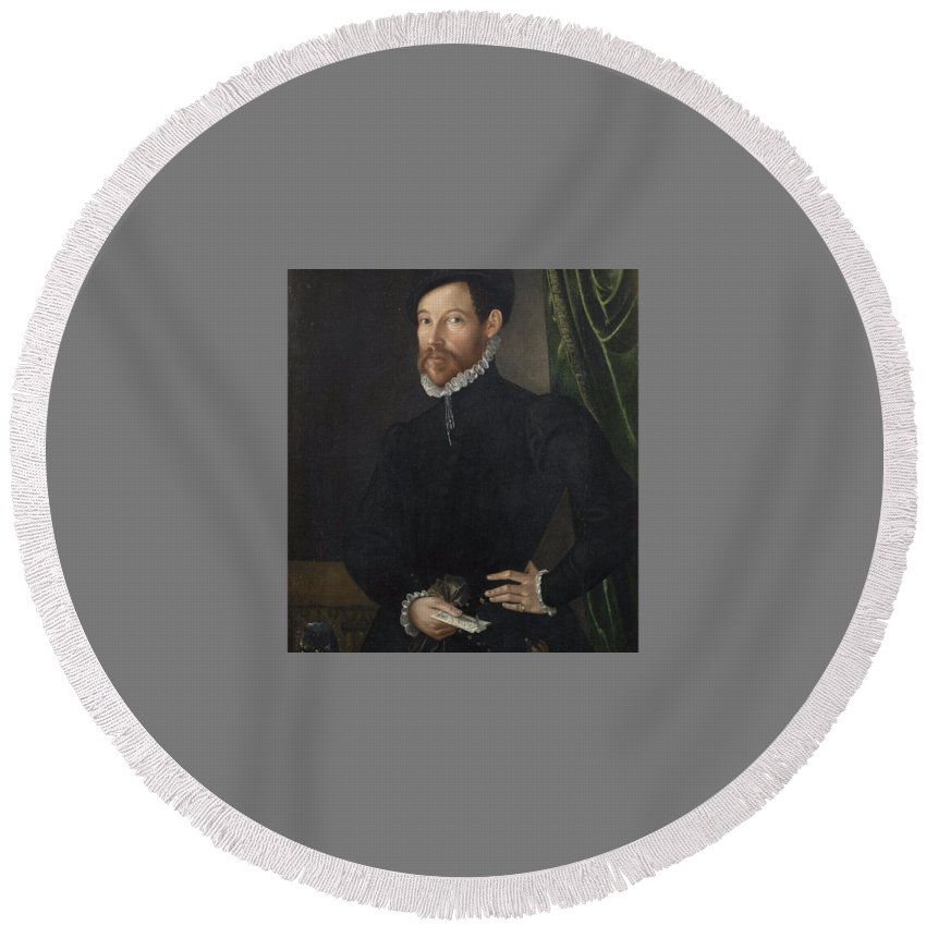 North Italian School Late 16th Century Portrait Of A Gentleman Round Beach Towel featuring the painting Portrait Of A Gentleman by MotionAge Designs