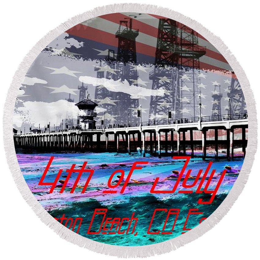 4th Of July Round Beach Towel featuring the painting 4th Of July by RJ Aguilar