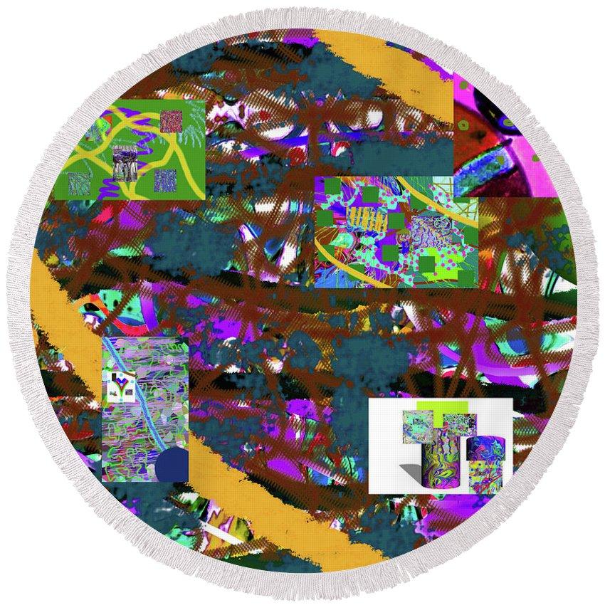 Walter Paul Bebirian Round Beach Towel featuring the digital art 5-12-2015cabcdefgh by Walter Paul Bebirian
