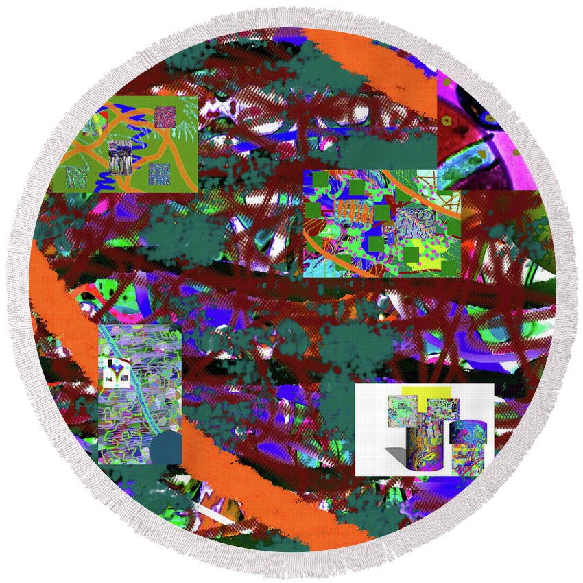 Walter Paul Bebirian Round Beach Towel featuring the digital art 5-12-2015cabcdefghij by Walter Paul Bebirian