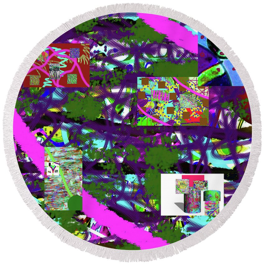 Walter Paul Bebirian Round Beach Towel featuring the digital art 5-12-2015cabcdefghijklmnopqr by Walter Paul Bebirian