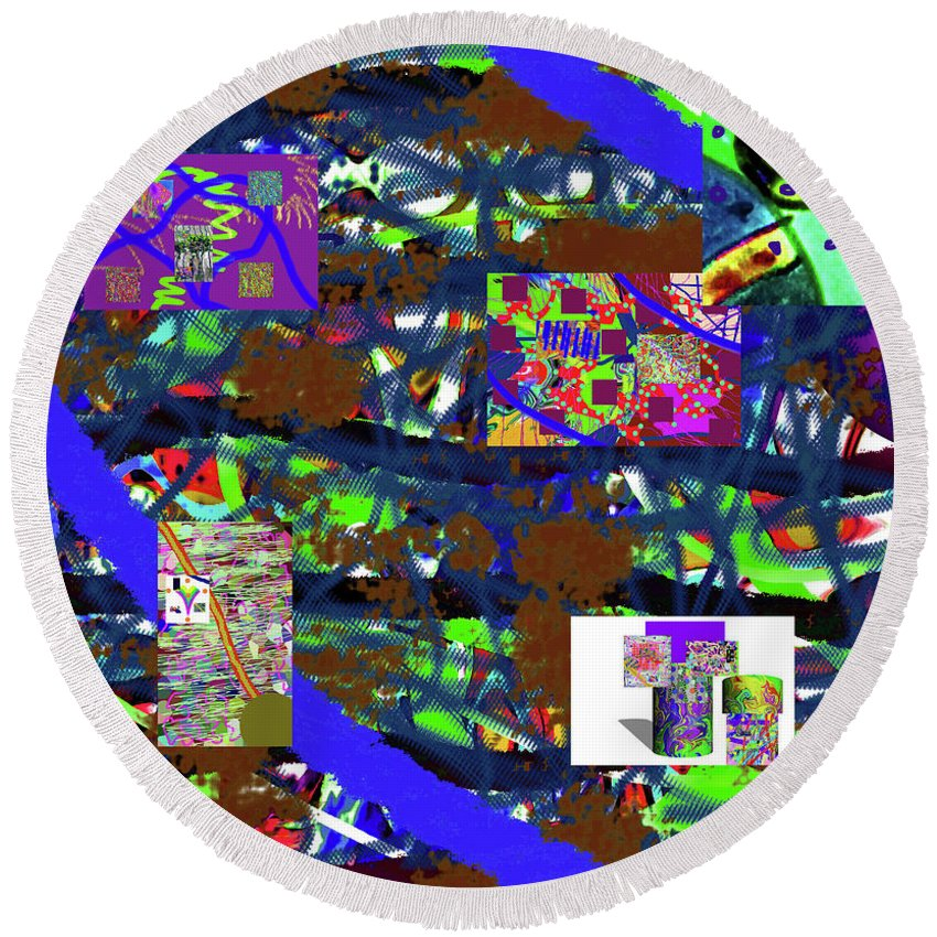 Walter Paul Bebirian Round Beach Towel featuring the digital art 5-12-2015cabcdefghijklmnopqrtuvwxyz by Walter Paul Bebirian