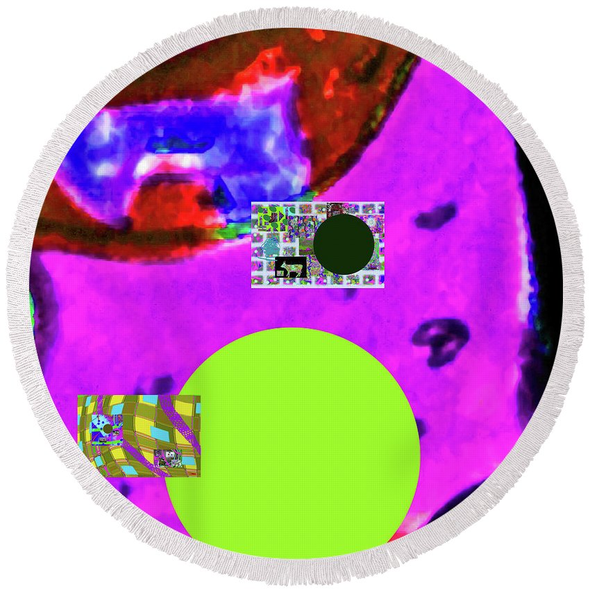 Walter Paul Bebirian Round Beach Towel featuring the digital art 5-24-2015cabcdefg by Walter Paul Bebirian