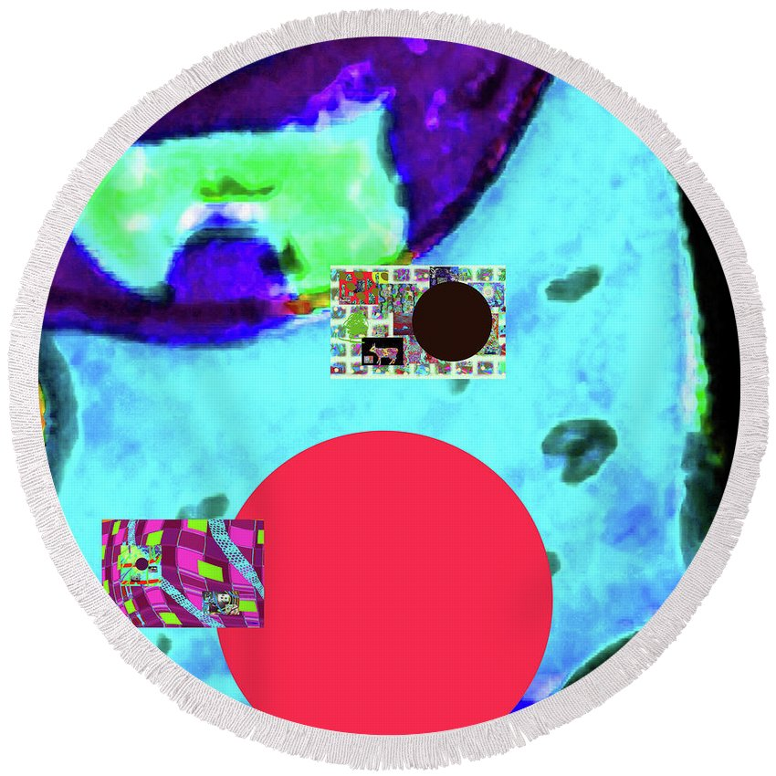 Walter Paul Bebirian Round Beach Towel featuring the digital art 5-24-2015cabcdefghijklmnopq by Walter Paul Bebirian