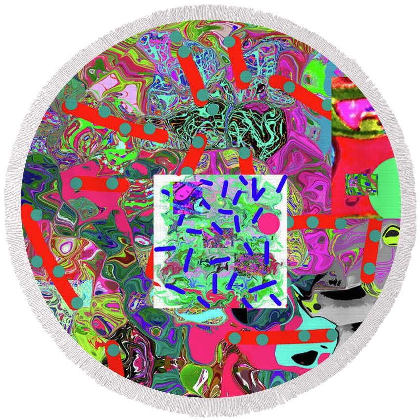 Walter Paul Bebirian Round Beach Towel featuring the digital art 5-24-2015da by Walter Paul Bebirian