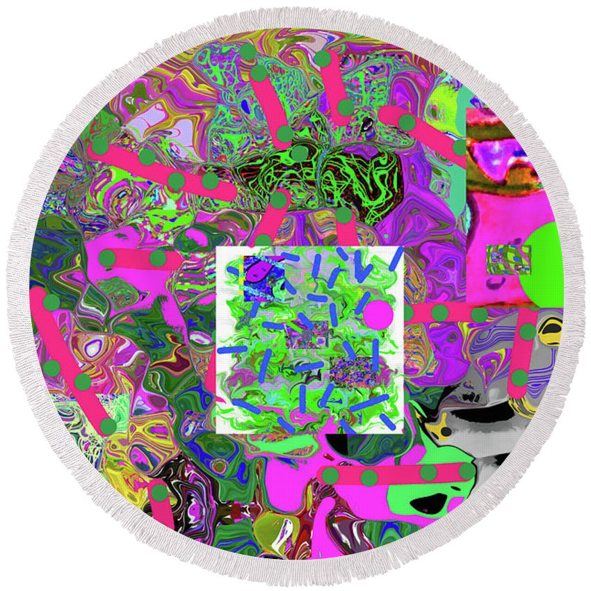 Walter Paul Bebirian Round Beach Towel featuring the digital art 5-24-2015dabcd by Walter Paul Bebirian