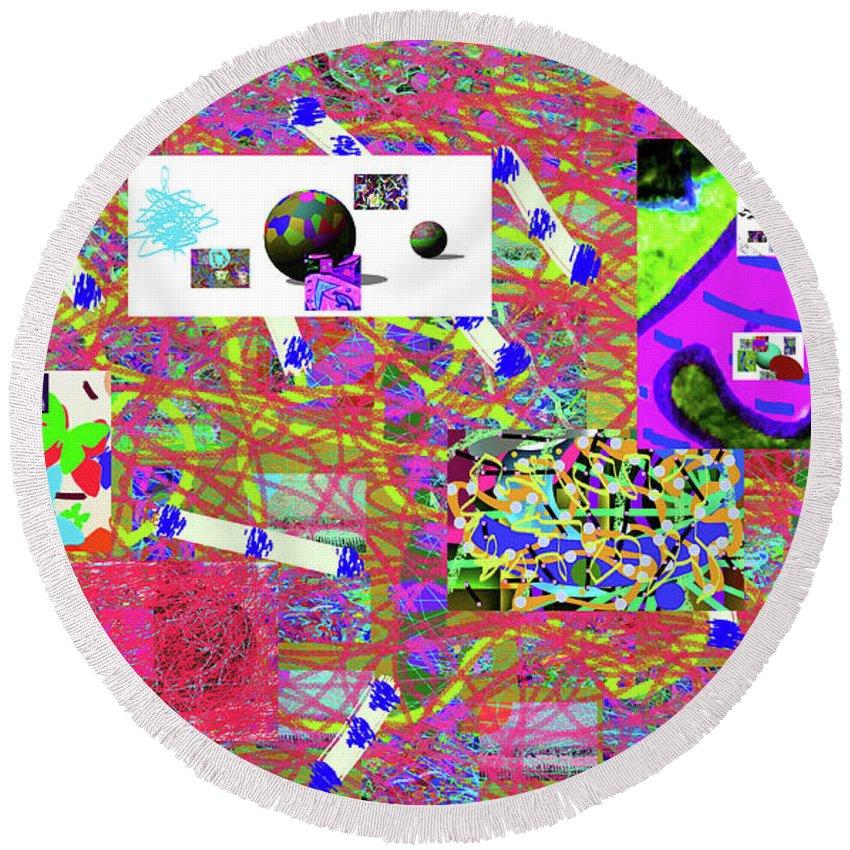 Walter Paul Bebirian Round Beach Towel featuring the digital art 5-3-2015gabcde by Walter Paul Bebirian