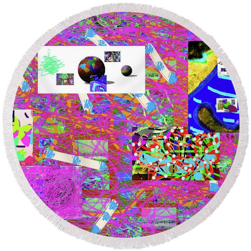 Walter Paul Bebirian Round Beach Towel featuring the digital art 5-3-2015gabcdefghi by Walter Paul Bebirian