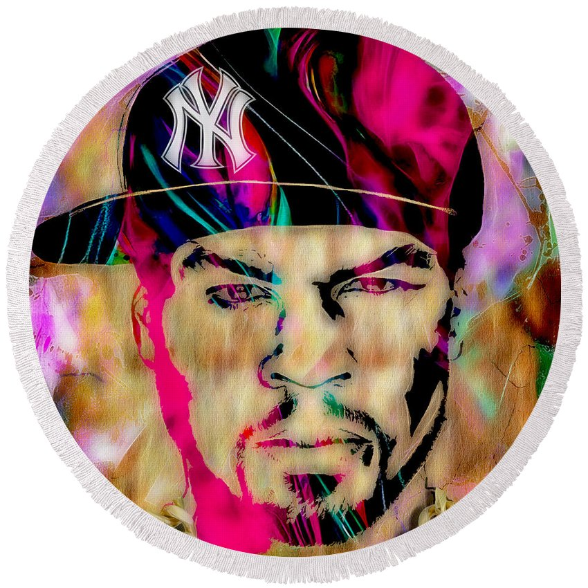 Rap Round Beach Towel featuring the mixed media 50 Cent Collection by Marvin Blaine