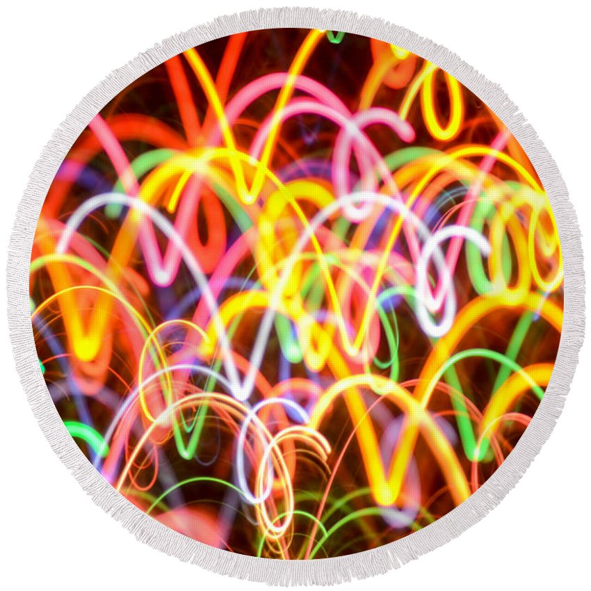 Abstract Round Beach Towel featuring the photograph Happy Vibes by Elizabeth Abbott