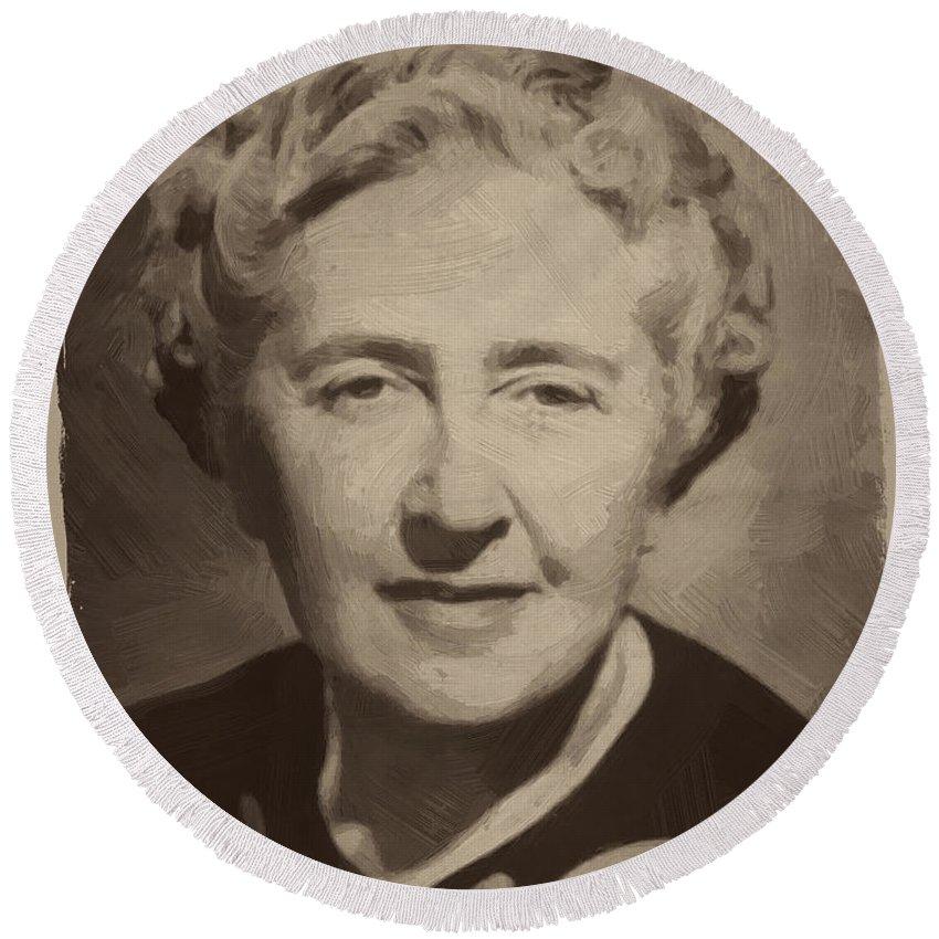 Agatha Christie Round Beach Towel featuring the digital art Agatha Christie 2 by Afterdarkness