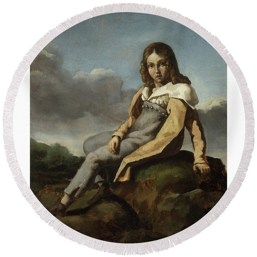 Alfred Dedreux (1810–1860) As A Child Round Beach Towel featuring the painting as a Child by Alfred Dedreux