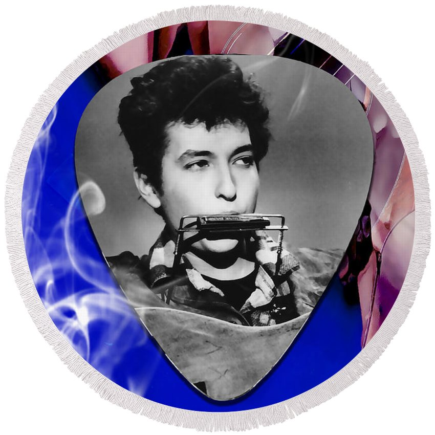 Bob Dylan Art Round Beach Towel featuring the mixed media Bob Dylan Art by Marvin Blaine