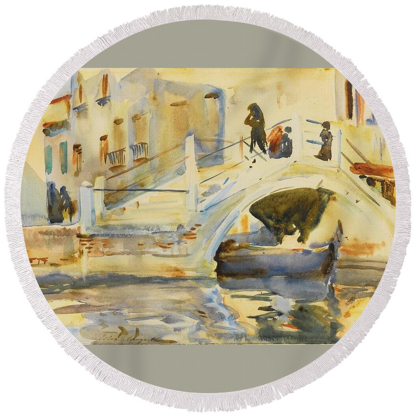 John Singer Sargent 1856 - 1925 Venice Round Beach Towel featuring the painting Bridge With Figures by John Singer