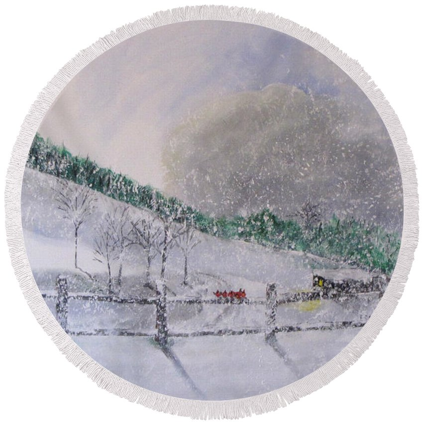 Snow Round Beach Towel featuring the painting 5 Card Stud by Gary Smith