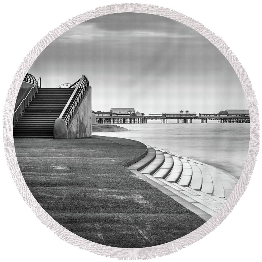 Black And White Image Round Beach Towel featuring the photograph Central Pier Blackpool by Mike Walker
